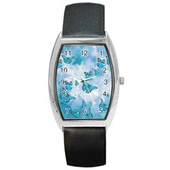 Adorable Butterflies, Aqua Barrel Style Metal Watch by MoreColorsinLife