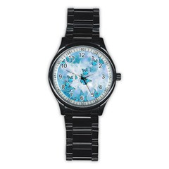Adorable Butterflies, Aqua Stainless Steel Round Watch by MoreColorsinLife
