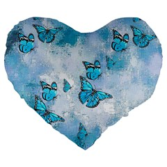 Adorable Butterflies, Aqua Large 19  Premium Flano Heart Shape Cushions by MoreColorsinLife