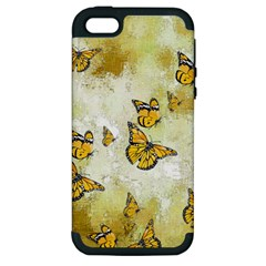 Adorable Butterflies, Yellow Apple Iphone 5 Hardshell Case (pc+silicone) by MoreColorsinLife