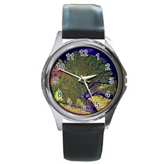 Lena River Delta A Photo Of A Colorful River Delta Taken From A Satellite Round Metal Watch