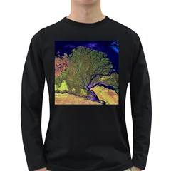 Lena River Delta A Photo Of A Colorful River Delta Taken From A Satellite Long Sleeve Dark T Shirts