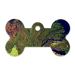 Lena River Delta A Photo Of A Colorful River Delta Taken From A Satellite Dog Tag Bone (two Sides)