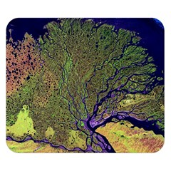 Lena River Delta A Photo Of A Colorful River Delta Taken From A Satellite Double Sided Flano Blanket (small)