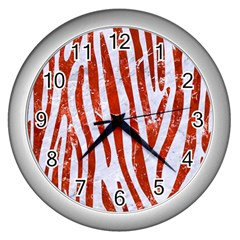 Skin4 White Marble & Red Marble Wall Clocks (silver)  by trendistuff