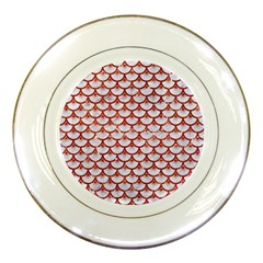 Scales3 White Marble & Red Marble (r) Porcelain Plates by trendistuff