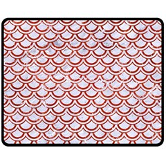 Scales2 White Marble & Red Marble (r) Double Sided Fleece Blanket (medium)  by trendistuff