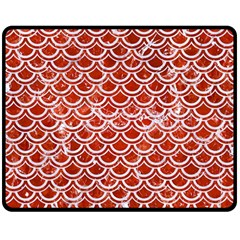 Scales2 White Marble & Red Marble Double Sided Fleece Blanket (medium)  by trendistuff