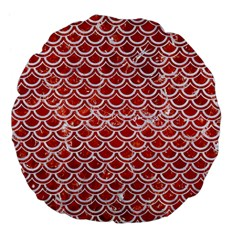 Scales2 White Marble & Red Marble Large 18  Premium Flano Round Cushions by trendistuff