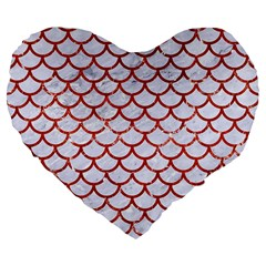 Scales1 White Marble & Red Marble (r) Large 19  Premium Flano Heart Shape Cushions by trendistuff