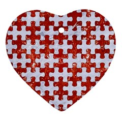 Puzzle1 White Marble & Red Marble Ornament (heart) by trendistuff