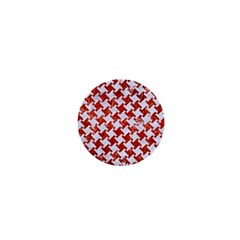 Houndstooth2 White Marble & Red Marble 1  Mini Magnets by trendistuff