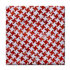 Houndstooth2 White Marble & Red Marble Face Towel by trendistuff