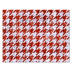 Houndstooth1 White Marble & Red Marble Rectangular Jigsaw Puzzl by trendistuff