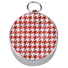 Houndstooth1 White Marble & Red Marble Silver Compasses by trendistuff