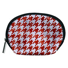 Houndstooth1 White Marble & Red Marble Accessory Pouches (medium)  by trendistuff