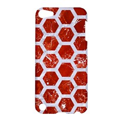 Hexagon2 White Marble & Red Marble Apple Ipod Touch 5 Hardshell Case by trendistuff
