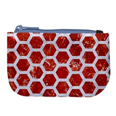 Hexagon2 White Marble & Red Marble Large Coin Purse by trendistuff