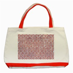 Hexagon1 White Marble & Red Marble (r) Classic Tote Bag (red) by trendistuff
