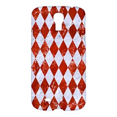 Diamond1 White Marble & Red Marble Samsung Galaxy S4 I9500/i9505 Hardshell Case by trendistuff