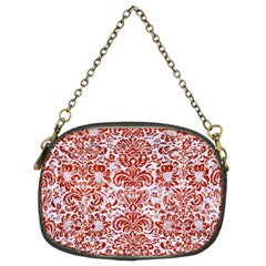 Damask2 White Marble & Red Marble (r) Chain Purses (two Sides)  by trendistuff
