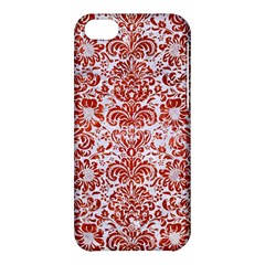Damask2 White Marble & Red Marble (r) Apple Iphone 5c Hardshell Case by trendistuff