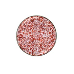 Damask2 White Marble & Red Marble Hat Clip Ball Marker (10 Pack) by trendistuff