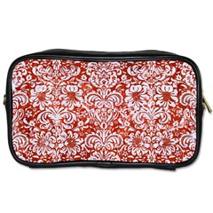 Damask2 White Marble & Red Marble Toiletries Bags 2 Side by trendistuff