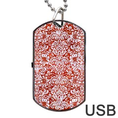 Damask2 White Marble & Red Marble Dog Tag Usb Flash (one Side) by trendistuff