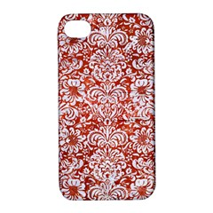 Damask2 White Marble & Red Marble Apple Iphone 4/4s Hardshell Case With Stand by trendistuff