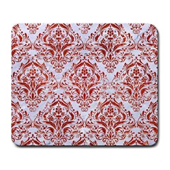 Damask1 White Marble & Red Marble (r) Large Mousepads by trendistuff