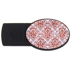 Damask1 White Marble & Red Marble (r) Usb Flash Drive Oval (4 Gb)