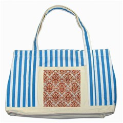 Damask1 White Marble & Red Marble (r) Striped Blue Tote Bag by trendistuff