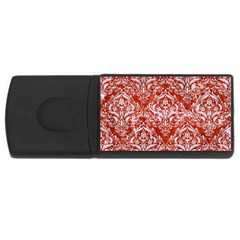 Damask1 White Marble & Red Marble Rectangular Usb Flash Drive by trendistuff