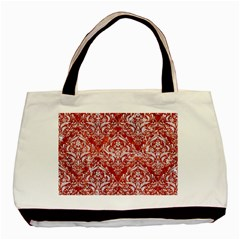 Damask1 White Marble & Red Marble Basic Tote Bag by trendistuff
