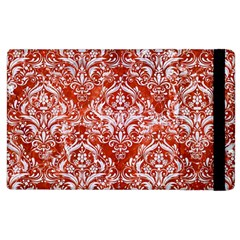 Damask1 White Marble & Red Marble Apple Ipad 2 Flip Case by trendistuff