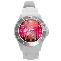 Wonderful Butterflies With Dragonfly Round Plastic Sport Watch (l) by FantasyWorld7