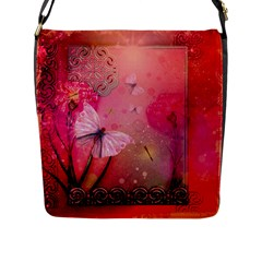 Wonderful Butterflies With Dragonfly Flap Messenger Bag (l)  by FantasyWorld7