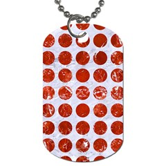 Circles1 White Marble & Red Marble (r) Dog Tag (two Sides) by trendistuff