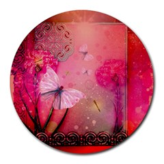 Wonderful Butterflies With Dragonfly Round Mousepads
