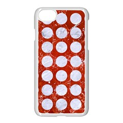 Circles1 White Marble & Red Marble Apple Iphone 8 Seamless Case (white)