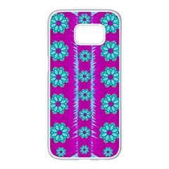 Fern Decorative In Some Mandala Fantasy Flower Style Samsung Galaxy S7 Edge White Seamless Case by pepitasart