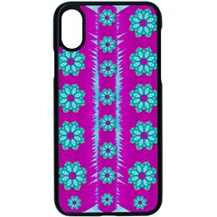 Fern Decorative In Some Mandala Fantasy Flower Style Apple Iphone X Seamless Case (black) by pepitasart