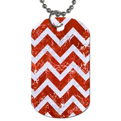 Chevron9 White Marble & Red Marble Dog Tag (two Sides) by trendistuff