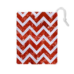 Chevron9 White Marble & Red Marble Drawstring Pouches (large)