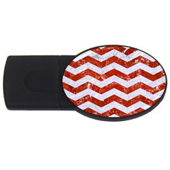 Chevron3 White Marble & Red Marble Usb Flash Drive Oval (4 Gb) by trendistuff
