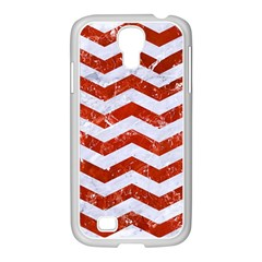 Chevron3 White Marble & Red Marble Samsung Galaxy S4 I9500/ I9505 Case (white) by trendistuff