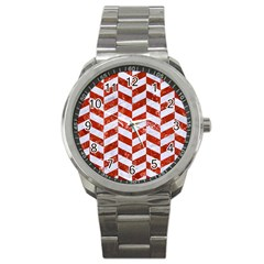 Chevron1 White Marble & Red Marble Sport Metal Watch by trendistuff
