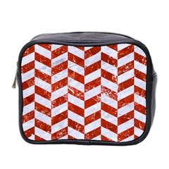 Chevron1 White Marble & Red Marble Mini Toiletries Bag 2 Side by trendistuff