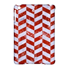 Chevron1 White Marble & Red Marble Apple Ipad Mini Hardshell Case (compatible With Smart Cover) by trendistuff